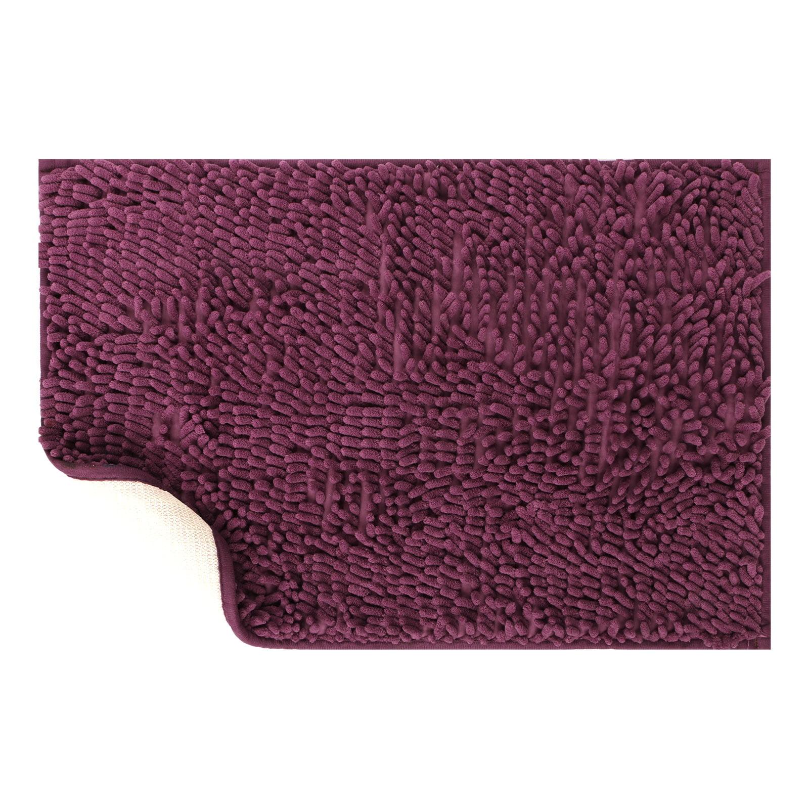 Non-Slip Soft Bathroom Rug Shag Shower Mat Machine-Washable Absorbent Bath Mats