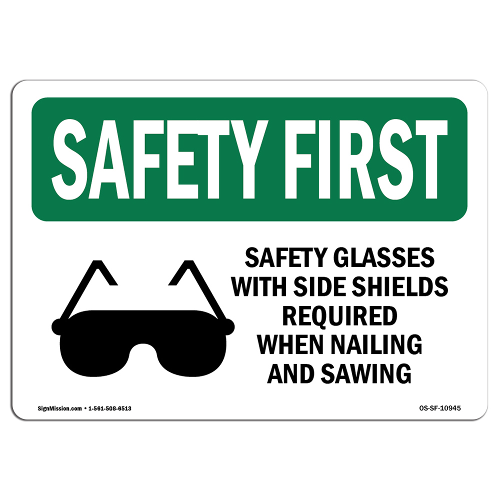 OSHA SAFETY FIRST Sign - Safety Glasses With Side Shields With Symbol   Choose from: Aluminum, Rigid Plastic or Vinyl Label Decal   Protect Your Business, Work Site, Warehouse   Made in the USA