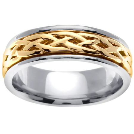 18K Two Tone Gold Infinity Knot Celtic Comfort Fit Women