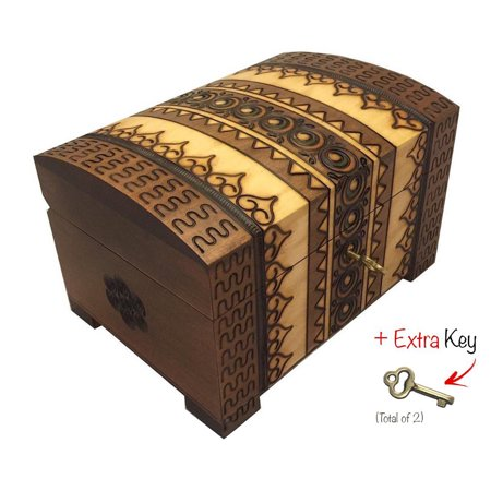 Polish Handmade Wooden Chest Linden Wood Jewelry Keepsake Box w/Lock and Key ()