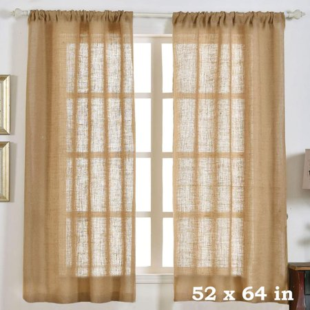 Efavormart 2 Panels Eco Friendly Burlap Jute Rustic Home Curtain Backdrop Panels With Rod Pocket For Window Wall Decoration for $<!---->