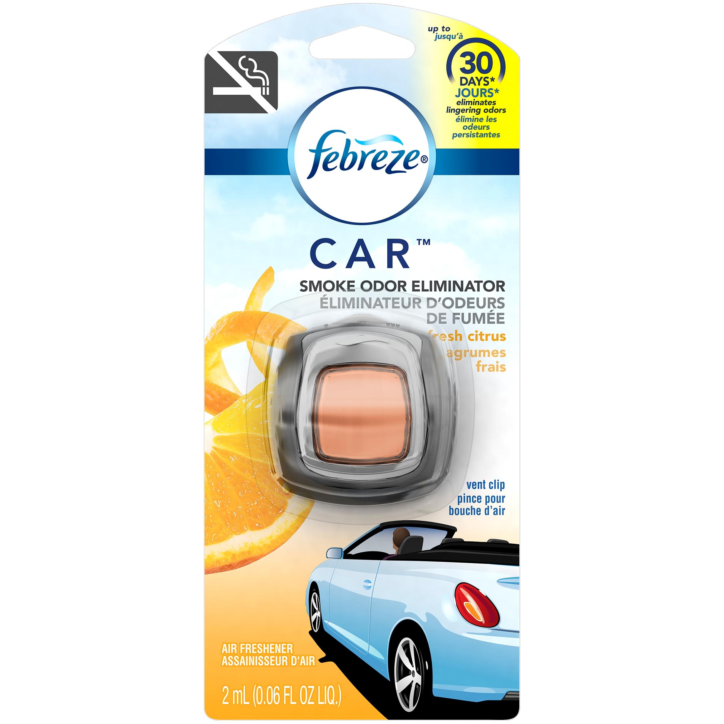 Car interior odor eliminator - Febreze Car Smoke Odor Eliminator Fresh Citrus Vent Clip Air Freshener 0 06 Fl Oz Carded Pack Walmart Com