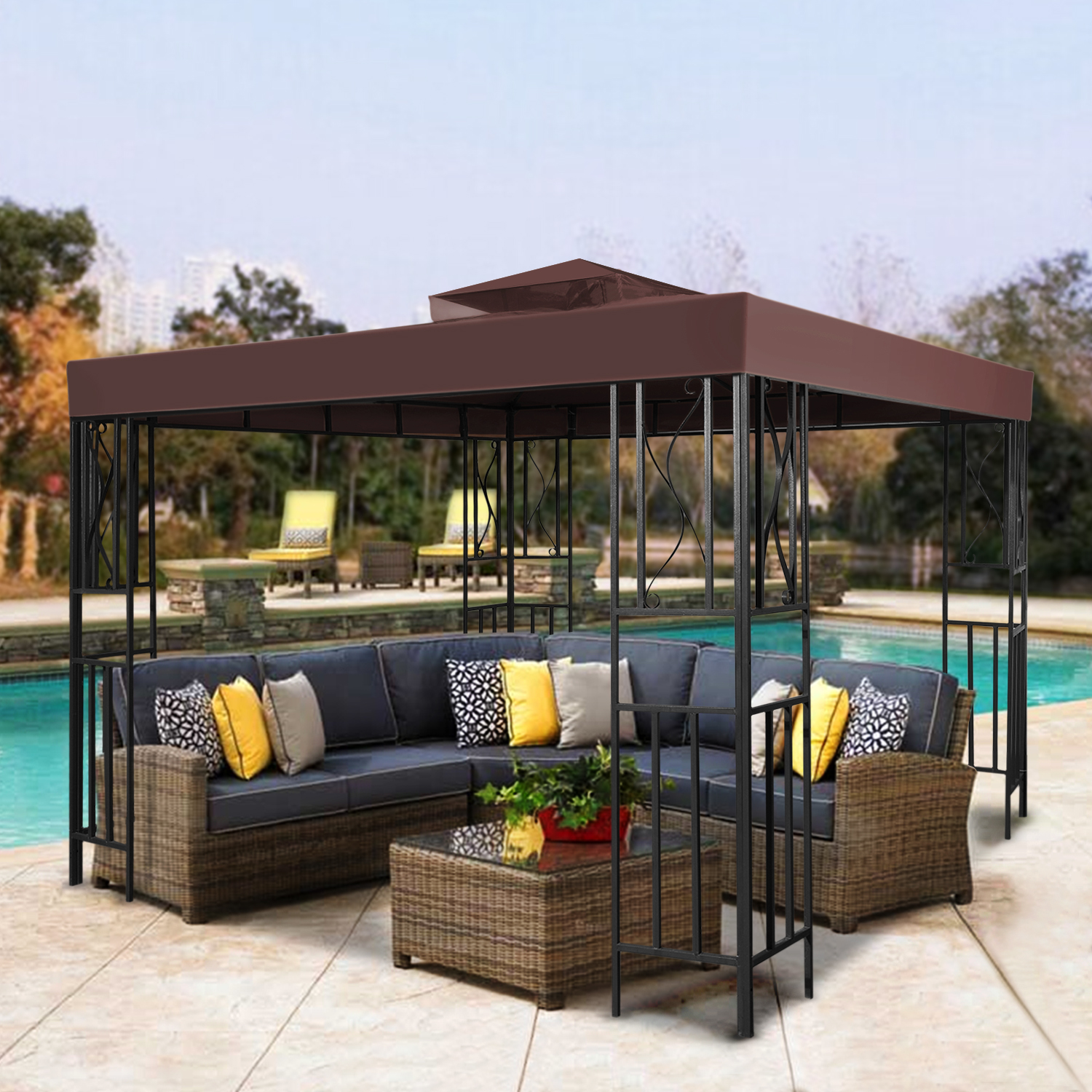 12 X Gazebo Canopy Top Replacement Cover Brown