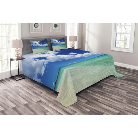 Ocean Bedspread Set, Island Sea Life Wavy Vivid Open Sunny Sea Shore Sand Beach Art Print Image, Decorative Quilted Coverlet Set with Pillow Shams Included, Bue Teal Cream White, by Ambesonne ()