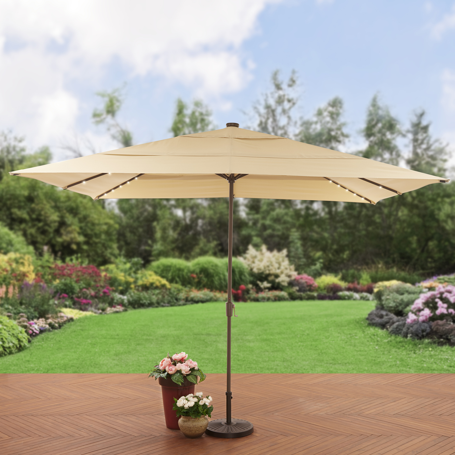 Better Homes and Gardens Aluminum Solar Lighted Patio Umbrella by NINGBO EVERLUCK OUTDOOR PRODUCTS MANUFACTING CO LTD