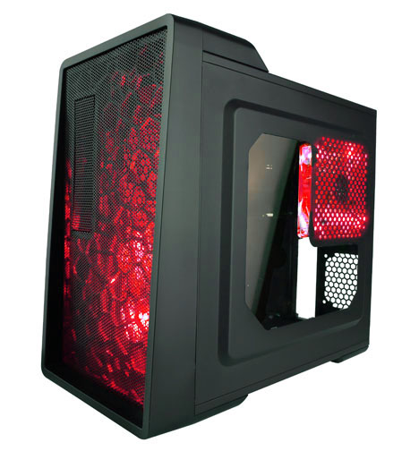 Apevia Mid Tower ATX Case with Window and 500W PSU (Red)