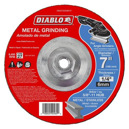 "7849029,GRINDING DISC,TYPE 27,DEPRESSED CENTER HUB ""DIABLO"",5/8"" ARBOR,,Dia In=7"