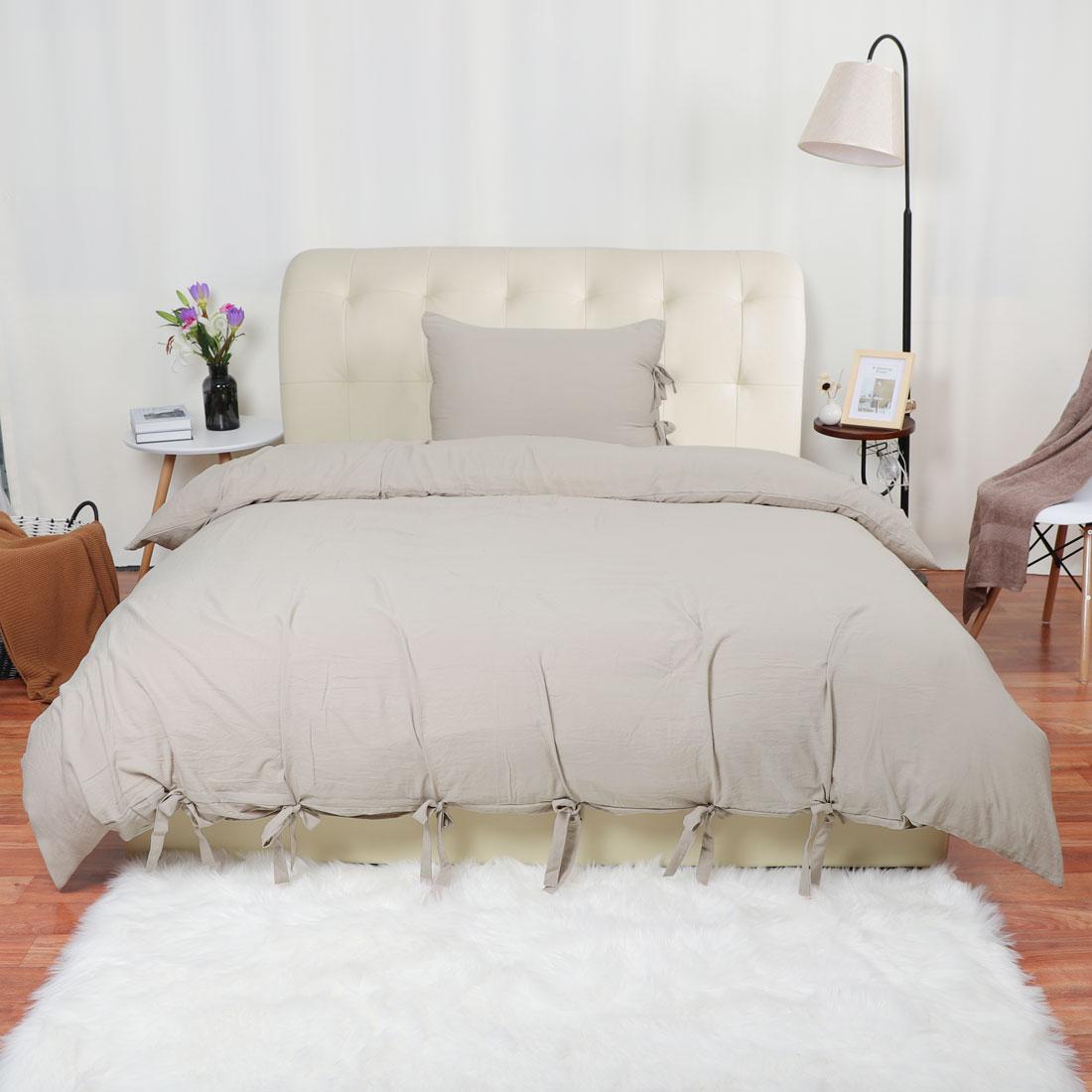 PiccoCasa Washed Cotton Bedding Comforter Duvet Cover Pillowcase Set