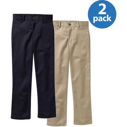 George Boys Slim Flat Front Twill Pant With Scotchguard - 2 Pack