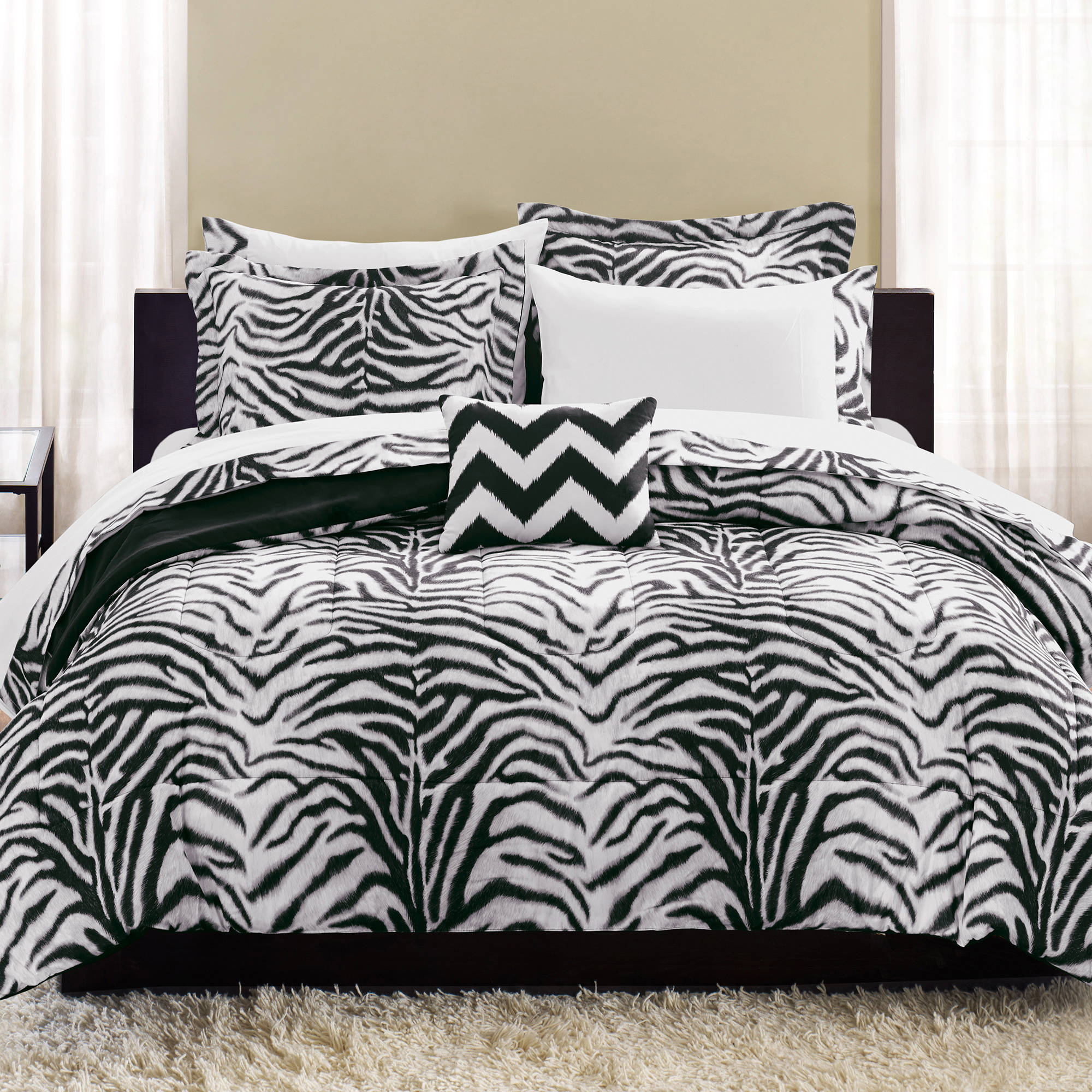 mainstays zebra bed in a bag complete bedding set walmart com
