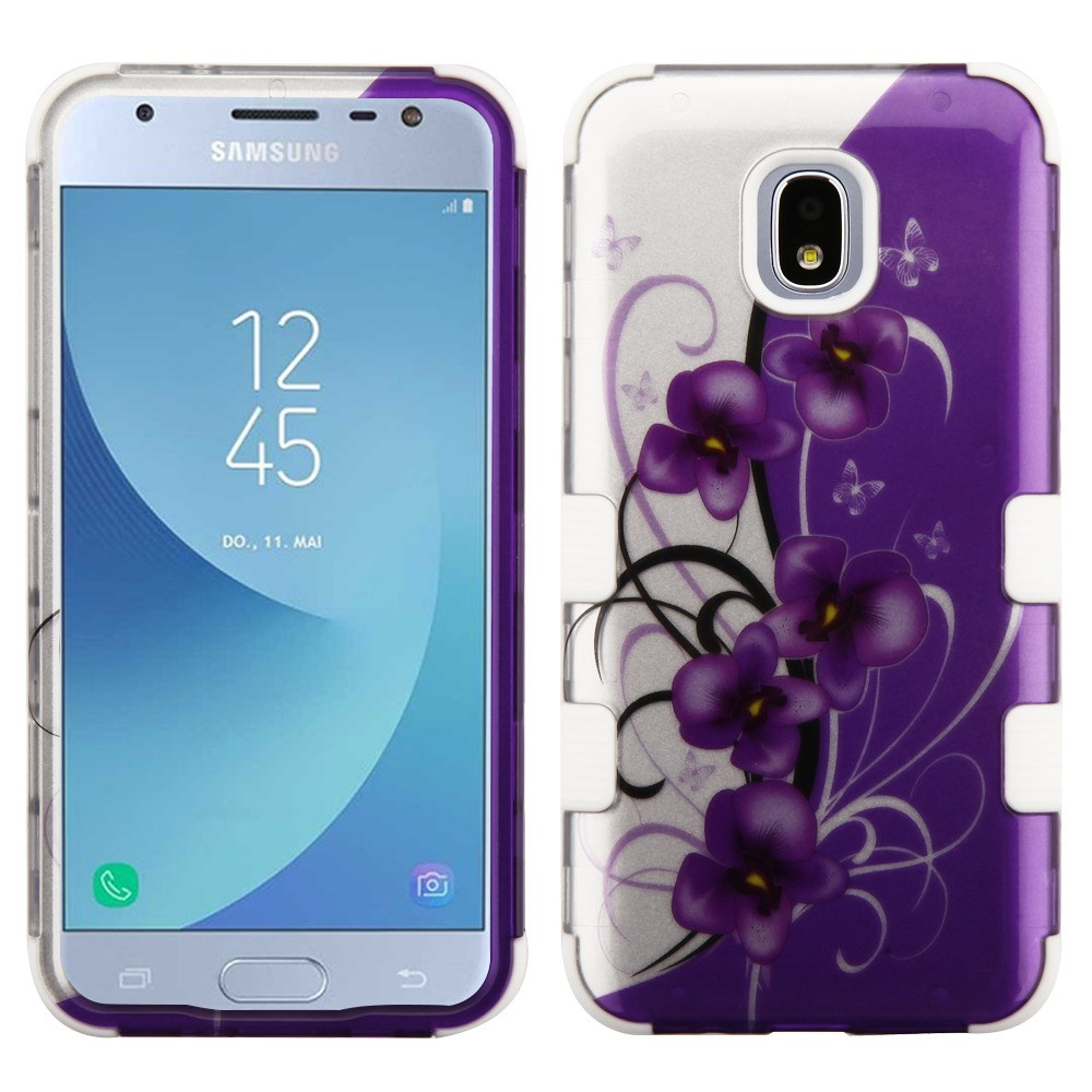 TUFF Hybrid Series Phone Protector Cover Case and Atom Cloth for Samsung Galaxy Express Prime 3 (AT&T) - 2D Twilight Petunia Flowers