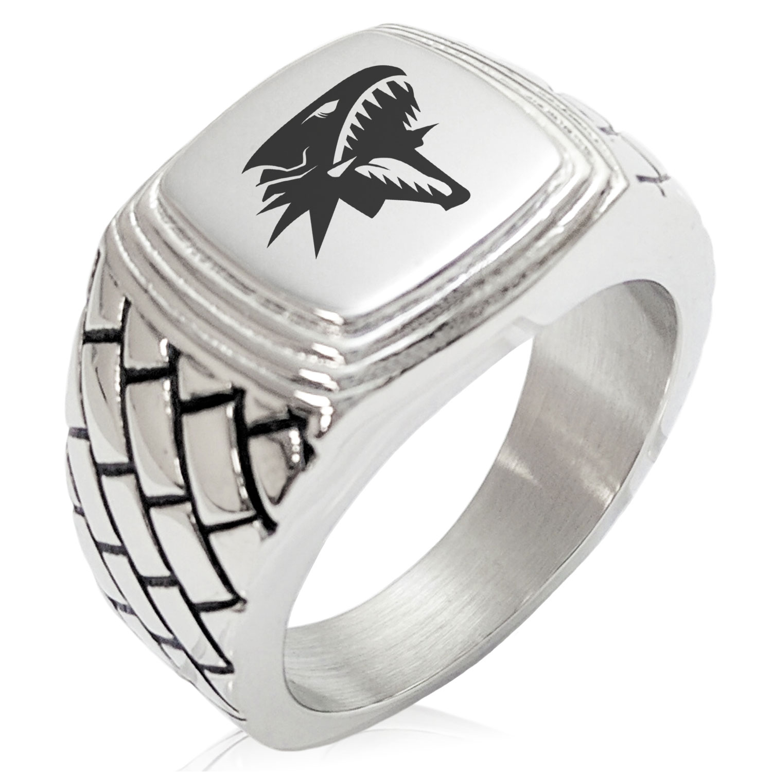 Tioneer Stainless Steel Pirate Anchor /& Pistols Emblem Chevron Pattern Biker Style Polished Ring