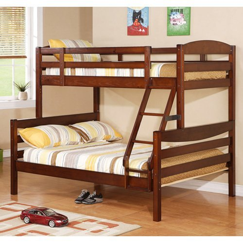 Twin over Full Solid Wood Bunk Bed Brown Walmart
