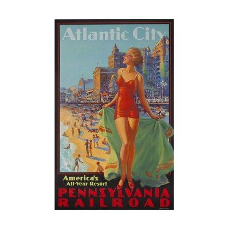 Pennsylvania Railroad Travel Poster, Atlantic City Bathing Beauty Print Wall Art