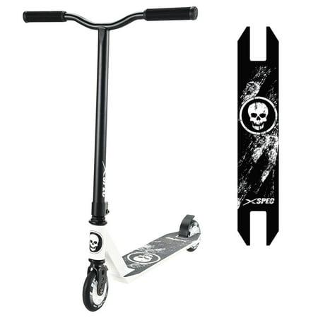 Xspec Pro Stunt Kick Scooter w/ Strong 6061 Aluminum Deck, Skull (Pyro Deck)