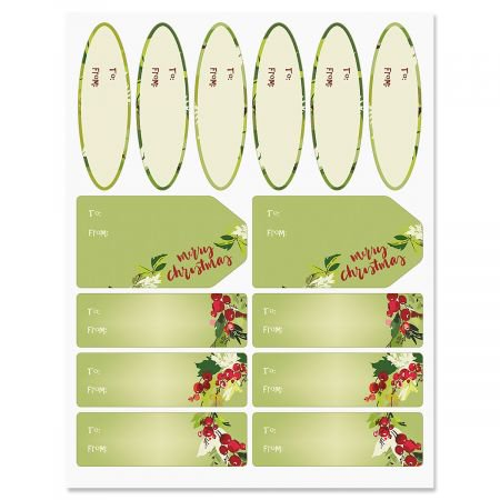 Christmas Wreaths Gift Labels- Set of 42 of Gift Labels in 3 Shapes and Sizes](Christmas Labels)