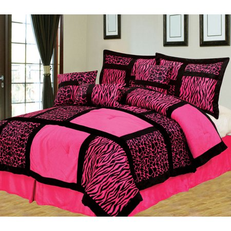 7 Piece Safari Pink and Black Patchwork Micro Suede Comforter Set ...