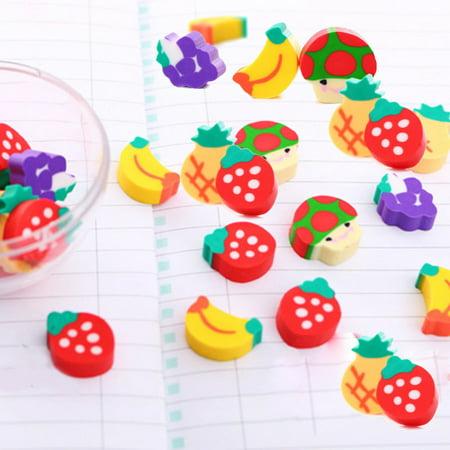 50PCS Novelty Mini Fruit Rubber Pencil Eraser Set Stationery Kids Children Gifts