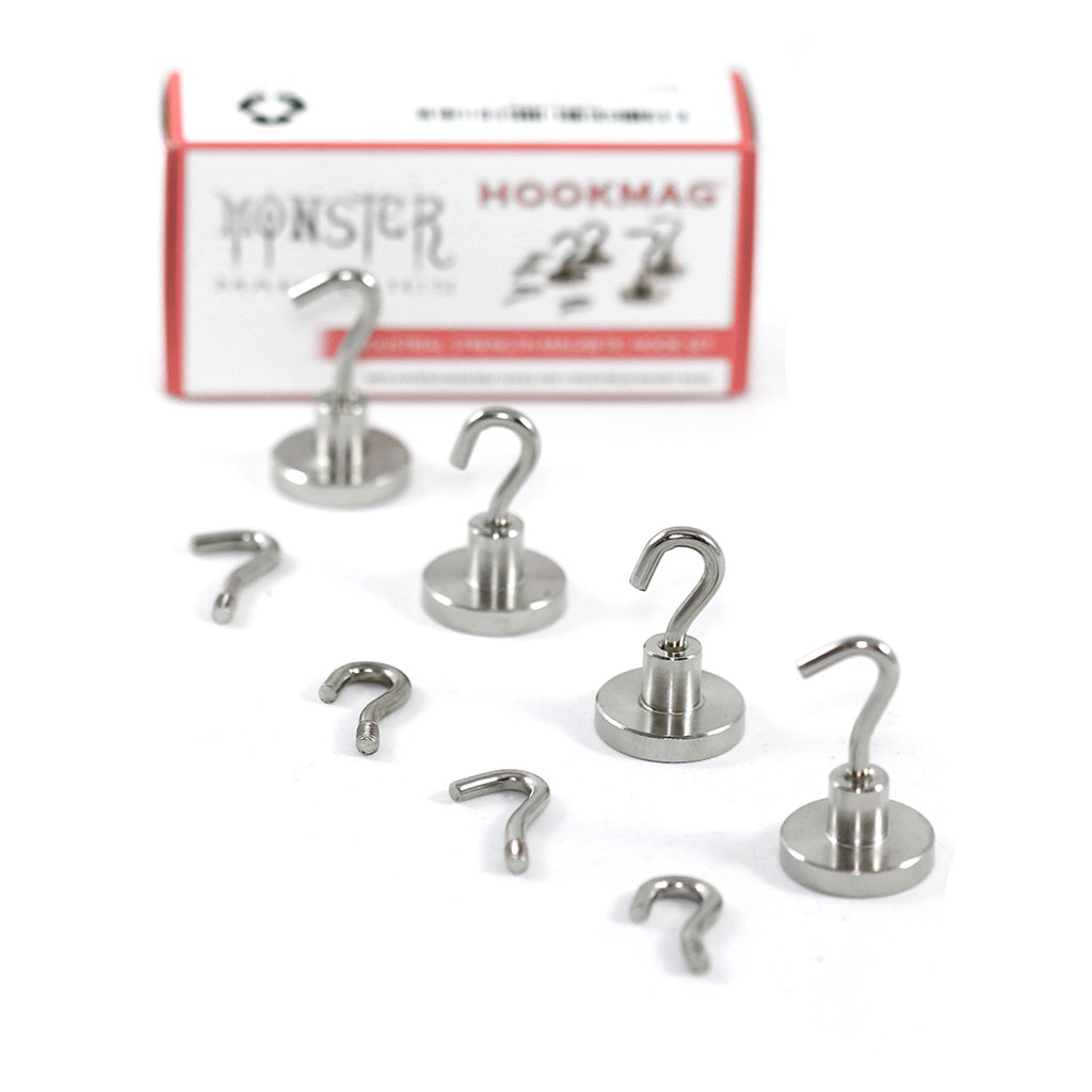 Monster Magnetics Heavy Duty Magnetic Hooks Set - 8 Hooks (2 types, 4 each) and 4 Neodymium Magnet Bases