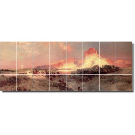 Ceramic Tile Mural Thomas Moran Landscapes Painting 552 64 w x 24 h u