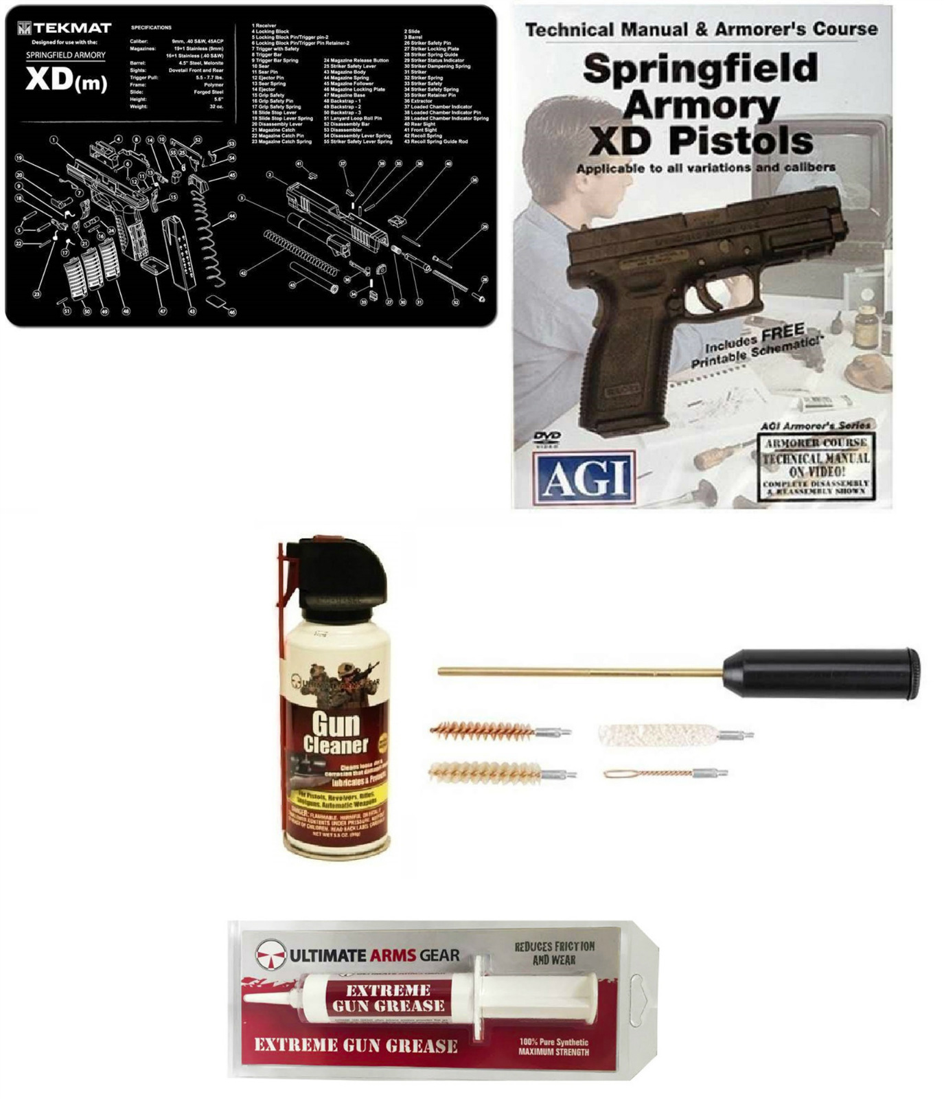 Gunsmith Cleaning Work Gun Mat Springfield Armory XD (s) XDs + Compact Pocket Sized Travelling Cleaning Kit + AGI DVD... by