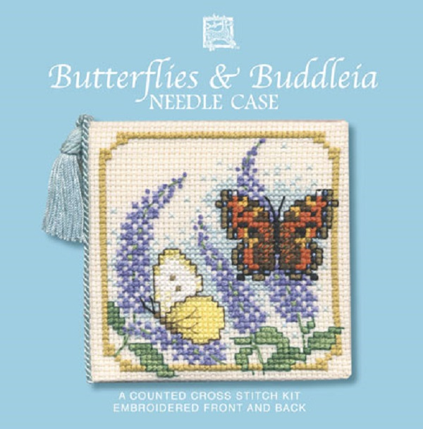 Textile Heritage Needle Case Counted Cross Stitch Kit - Butterflies & Buddleia
