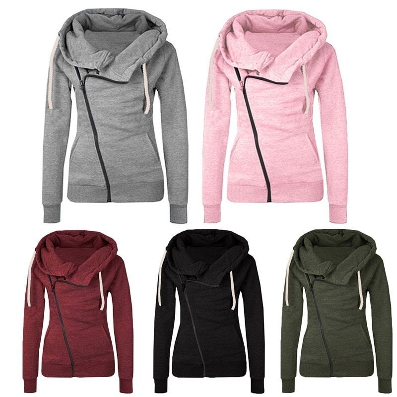 Women's Fashion Winter Zip Up Thicken Sweatshirts Hoodies Coat Outwear Warm Long Sleeve Jacket