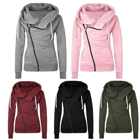 Women's Fashion Winter Zip Up Thicken Sweatshirts Hoodies Coat Outwear Warm Long Sleeve Jacket