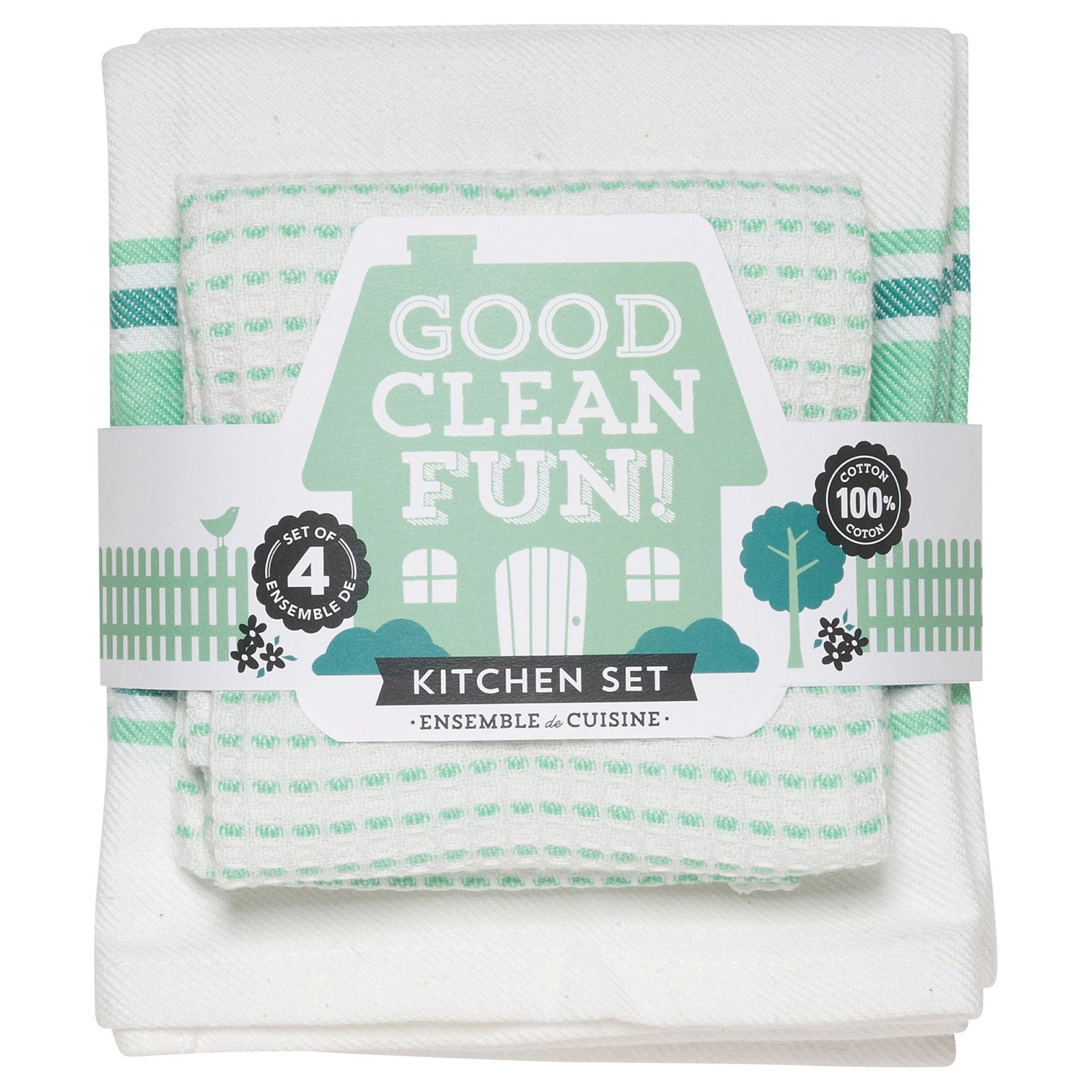 Now Designs Good Clean Fun Kitchen Towels, Set of 4, Multiple Colors Available by Now Designs