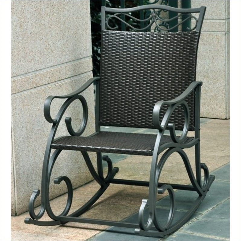 Pemberly Row Resin Patio Rocker in Antique Black