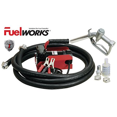 12v Fuel Transfer Pump - Fuelworks 10304010A 12V 10GPM Fuel Transfer Pump Kit with 13' Hose and Manual Nozzle, Red