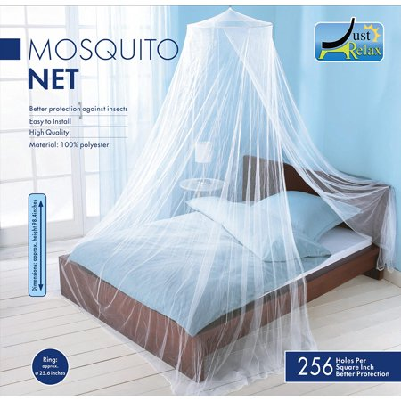 Just Relax Elegant Mosquito Net Bed Canopy Set, White, Twin-Full