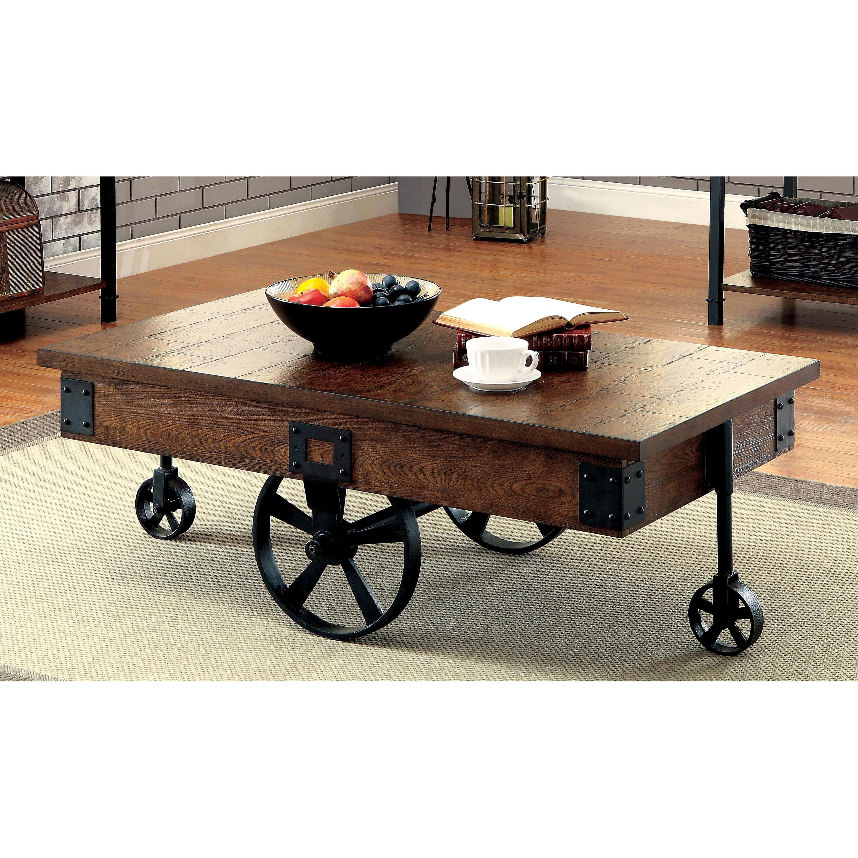 Charming Furniture Of America Carpenter Rustic Weathered Oak Caster Wheel Coffee  Table