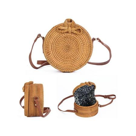 Meigar Women Round Rattan Straw Handbag Bohemia Style Summer Beach Circle (Shown Junior Handbags)