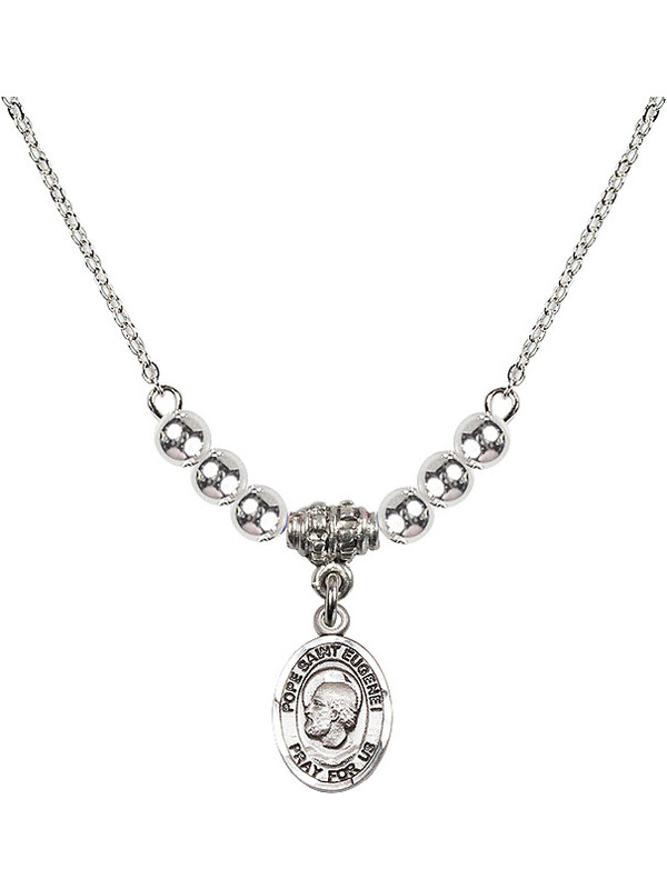Bonyak Jewelry 18 Inch Rhodium Plated Necklace w// 4mm Sterling Silver Beads and Papal Crucifix Charm