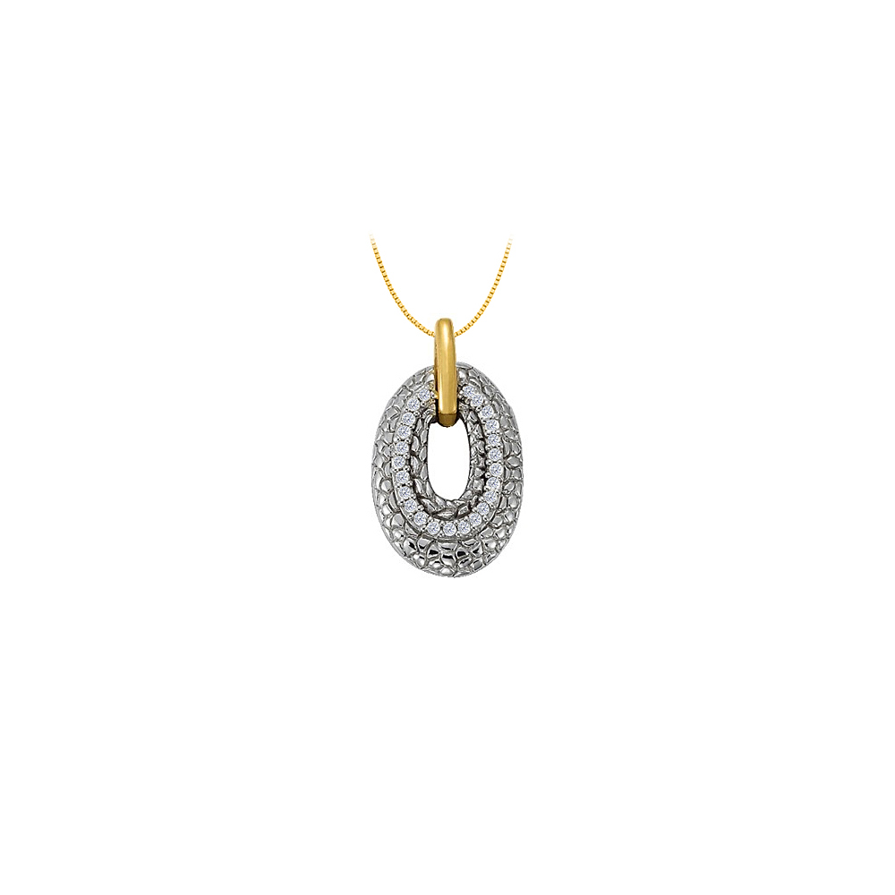 April Birthstone Diamonds Oval Pendant in Two Tone Gold0.25 CT TDW - image 1 of 1