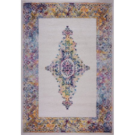 Ladole Rugs Saba Traditional Border Style Machine Made European Indoor Mat Carpet in Cream Multicolor, 2x3 (1