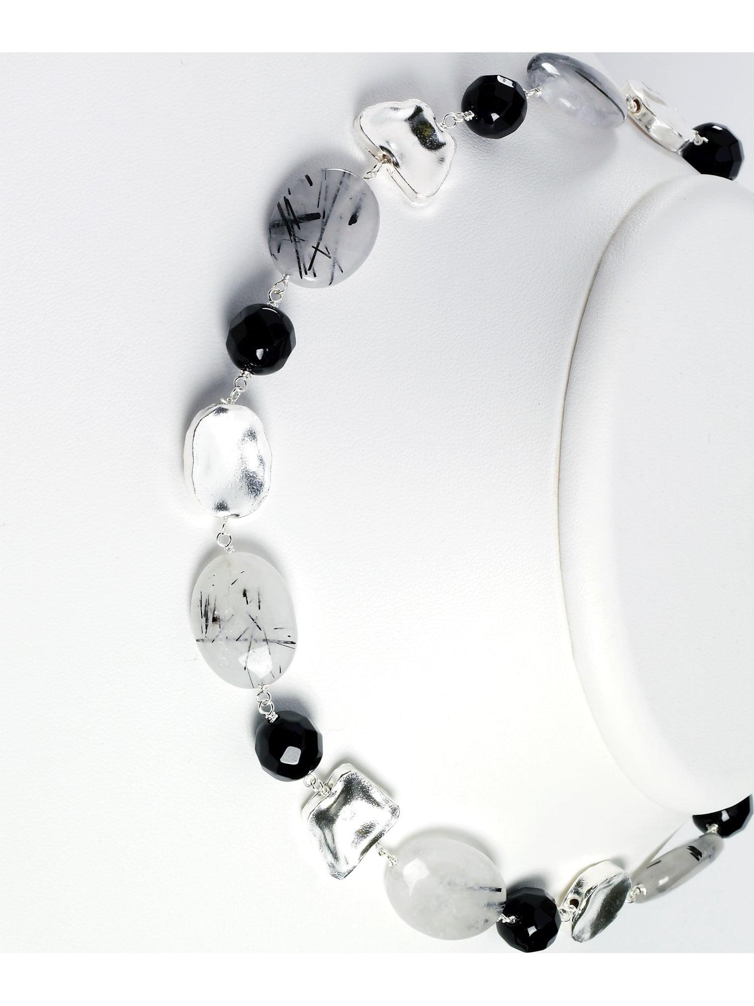 Jewelry Necklaces Gemstone Sterling Silver Tourmalinated Quartz//Black Agate//Clear Quartz Necklace