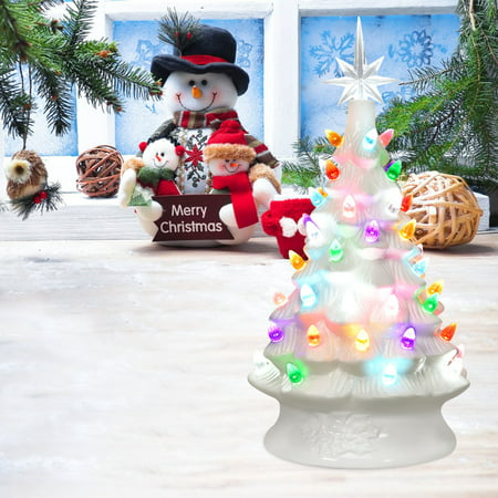 Gymax 14ft Pre-Lit Ceramic Hand-Painted Christmas Tree ...