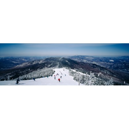 Aerial view of a group of people skiing downhill Sugarbush Resort Vermont USA Canvas Art - Panoramic Images (36 x 12)