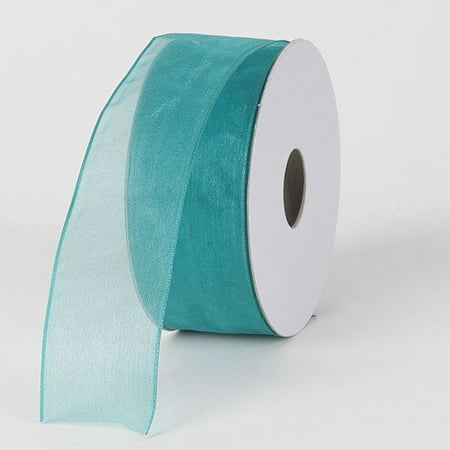 BBCrafts 1-1/2 inch x 25 Yards Thin Wire Edge Organza Ribbon Decoration Wedding Party (Teal), Ship in 1 Business Day. By Generic