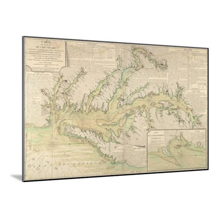 Sailing Chesapeake Bay - Map of the Chesapeake Bay, 1778 Wood Mounted Print Wall Art