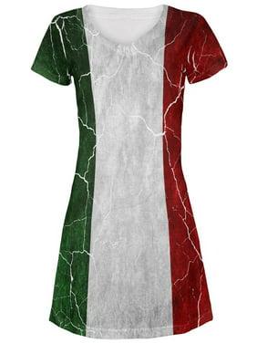 f0092d87eb85d Product Image Distressed Italian Flag Juniors V-Neck Beach Cover-Up Dress