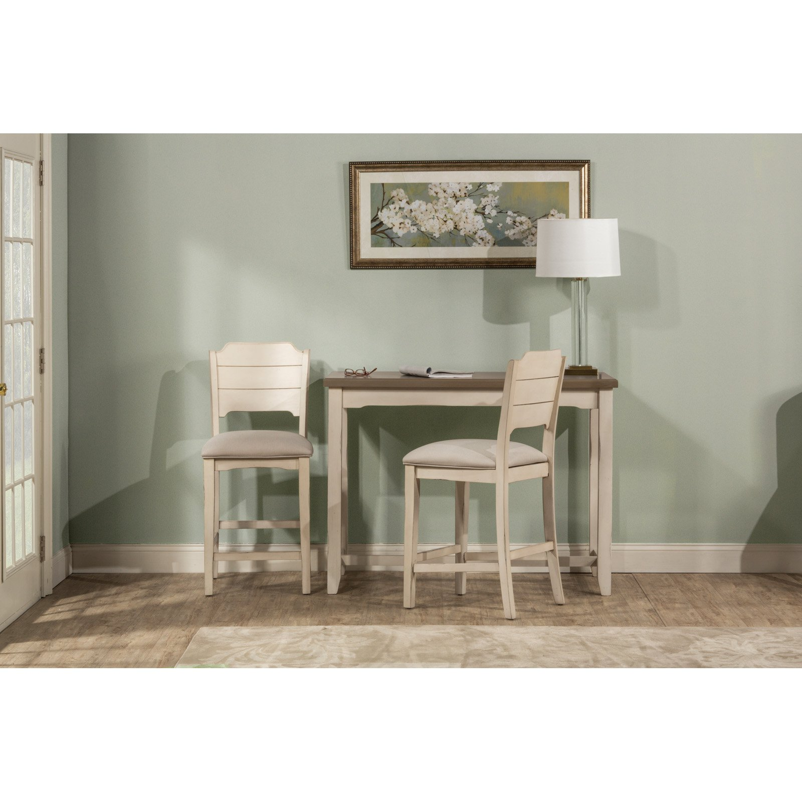 Hillsdale Furniture Clarion Three (3) Piece Counter Height Side Dining Set with Open Back Stools