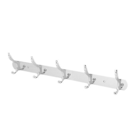 Stainless Steel Wall Mounted 5 Double Hook Closet Hanger Rail