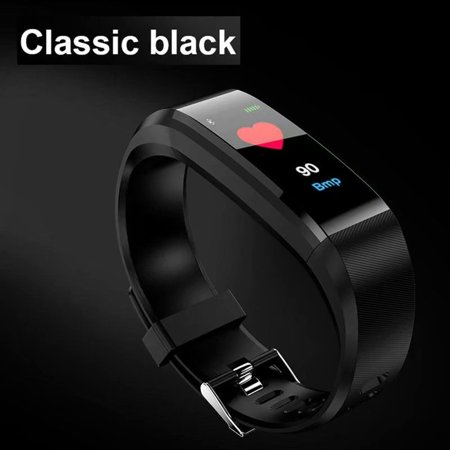 VicTsing 115Plus USB Bluetooth Fitness Tracker Smartband Color Screen Heart Rate Monitor Smart Bracelet Sport Wristband 0.96in IP67Water Resistance-Black