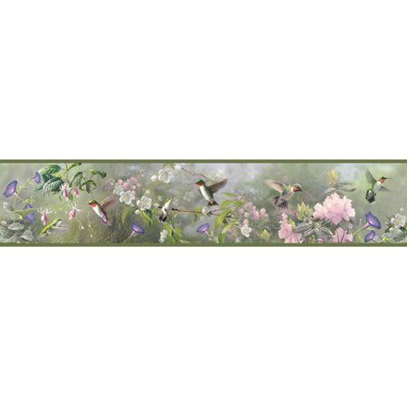 Brewster Home Fashions Outdoors Ruby Hummingbird Garden 15' x 6'' Floral 3D Embossed Border Wallpaper](Tweety Bird Halloween Wallpaper)