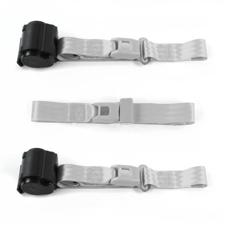Standard 2 Point Gray Retractable Bench Seat Belt Kit with 3 Belts for 1967-1972 Chevy Truck - image 1 of 1