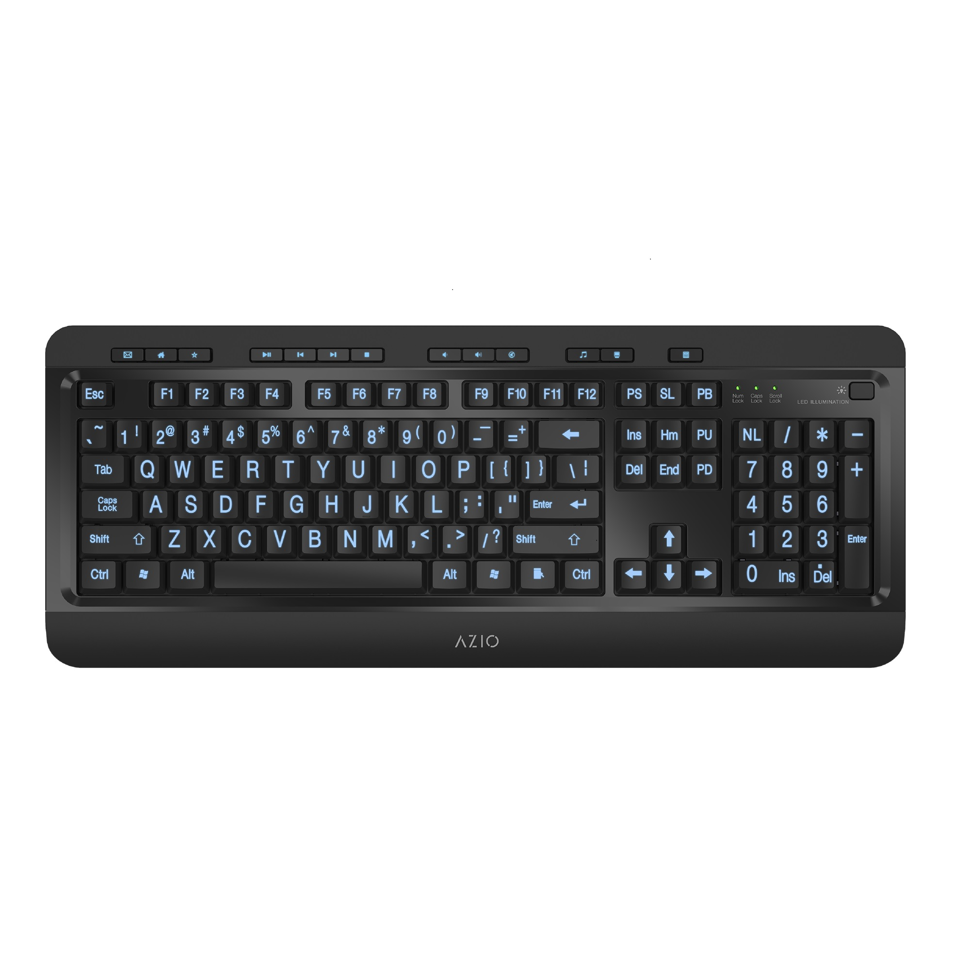 Azio Keyboard Tri-Color Backlit Large Print Wired USB KB505U