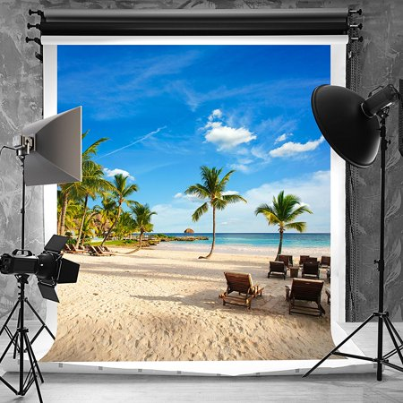 HelloDecor Polyester Fabric 5x7ft Tropical Rainforest Photography Backdrop for Photographers Cloth for Parties Summer Beach Background (Beach Party Backdrop)